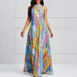 Summer Sexy Beach Long Dresses Casual Print